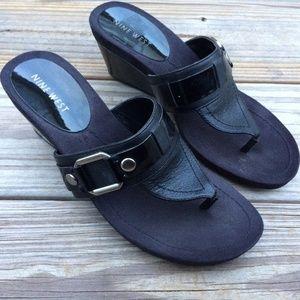 Nine West Women Wedge Sandal Black Leather/Manmade